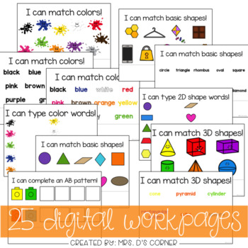 DIGITAL Adapted Work Binder ( Colors Shapes and Patterns )