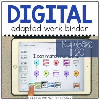 DIGITAL Adapted Work Binder ( Numbers 11-20 )