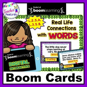 DIGITAL BOOM CARDS ELA REAL LIFE CONNECTIONS Describing with Adjectives