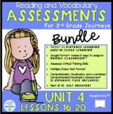 DIGITAL | BUNDLE | UNIT 4 Lessons 16-20 Journeys 3rd Grade READING ASSESSMENTS