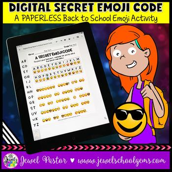 DIGITAL Back to School Emoji Activities (PAPERLESS Emoji Code Back to School)
