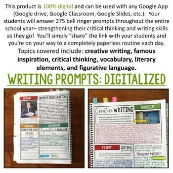 DIGITAL Bell Ringer Journal for Entire School Year: 275 Prompts (VOLUME TWO)