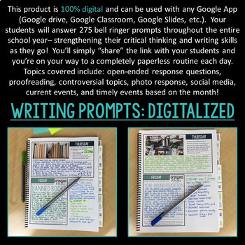 DIGITAL Bell Ringer Journal for the Entire School Year: 275 Journal Prompts