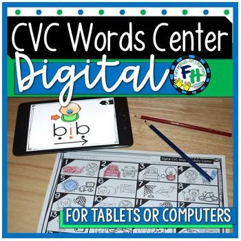 DIGITAL CVC Words Activity Center {Blend & Segment}