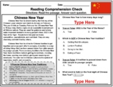 DIGITAL: Chinese New Year Comprehension Passage & Sentence Fixer
