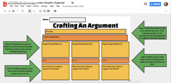 DIGITAL Crafting an Argument Graphic Organizer using Google Drawing