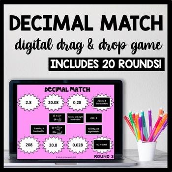 Digital Decimal Matching Game Word Form Expanded Form Unit Form