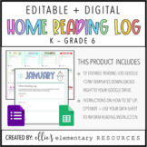 DIGITAL + EDITABLE - Home Reading Log
