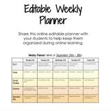 DIGITAL + EDITABLE Online Weekly Student Agenda/Planner