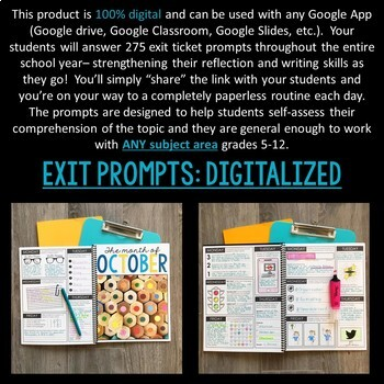 DIGITAL Exit Ticket Journal for ANY Subject: 275 Prompts DISTANCE LEARNING
