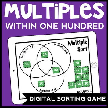 DIGITAL Finding Common Multiples within 100 Number Sorting Game for Google Drive