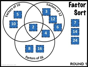 DIGITAL Finding Common Factors within 100 Number Sorting Game for Google Drive