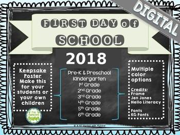 DIGITAL First Day of School Chalkboard Keepsakes
