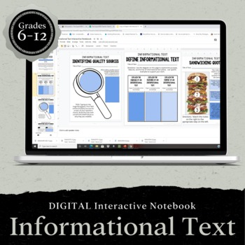 DIGITAL Google Drive Interactive Notebook: Informational Text 7-12