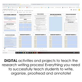 DIGITAL Google Drive Interactive Notebook: Research Writing 7-12