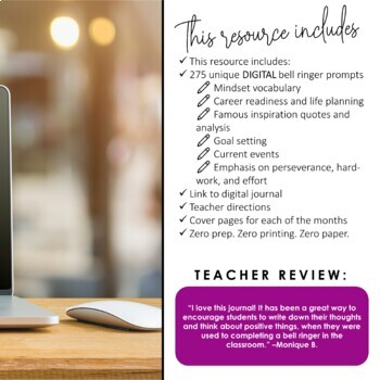 DIGITAL Growth Mindset Bell Ringer Journal for Entire School Year: Grades 6-12