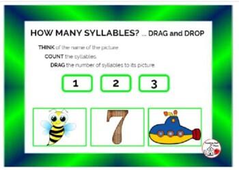 DIGITAL HOW MANY SYLLABLES? Grades 1-2-3 BOOM Internet™ Task Cards