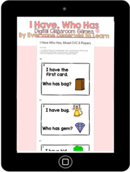 DIGITAL I Have Who Has Classroom Game: Short Vowel O