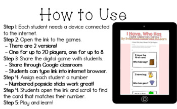 DIGITAL I Have Who Has Classroom Game: Short Vowel U