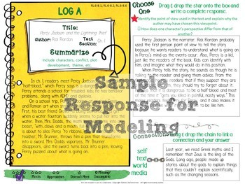 DIGITAL INDEPENDENT READING RESPONSE JOURNAL  FICTION- MIDDLE SCHOOL ENGLISH