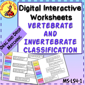 DIGITAL Interactive INVERTEBRATES VERTEBRATES CLASSIFICATION Activity MS-LS4-1