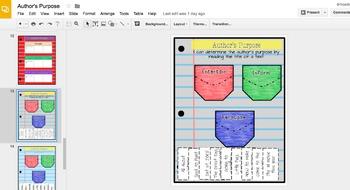 DIGITAL INTERACTIVE NOTEBOOK AUTHOR'S PURPOSE ACTIVITIES