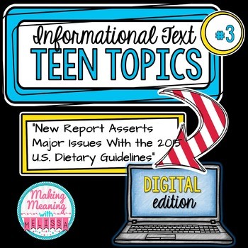 DIGITAL Informational Text - Teen Topics #3, Engaging Nonfiction