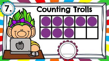 DIGITAL KINDERGARTEN MATH CENTER- Counting Trolls with Ten Frames