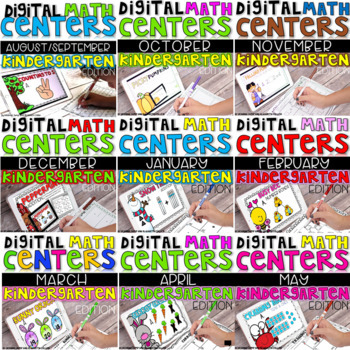 DIGITAL KINDERGARTEN MATH CENTERS BUNDLE FOR THE ENTIRE YEAR