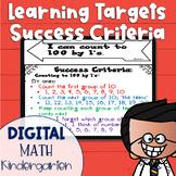 DIGITAL Learning Target and Success Criteria BUNDLE for Math Kindergarten