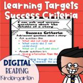 DIGITAL Learning Target and Success Criteria BUNDLE for Reading Kindergarten