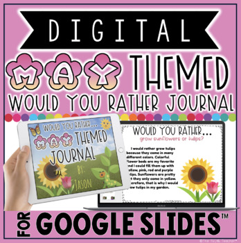 "DIGITAL MAY THEMED ""Would You Rather.."" WRITING JOURNAL IN GOOGLE SLIDES™"