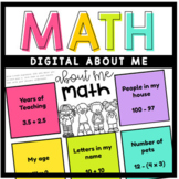 DIGITAL Math About Me (Google Slides) - Get to Know You Activity