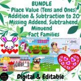 DIGITAL Math BUNDLE Addition & Subtraction to 20   Place Value   Missing Numbers