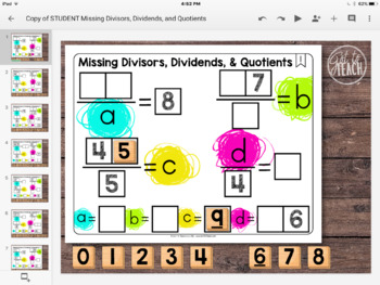 DIGITAL Math Tiles: Missing Divisors, Dividends, and Quotients