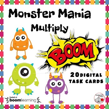DIGITAL Monster Mania Multiply ... Facts Grade 3: BOOM™ Internet Task Cards