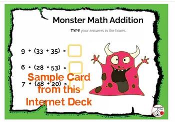 DIGITAL ... Monster Math Addition to 100 ... BOOM™ Internet Task Cards