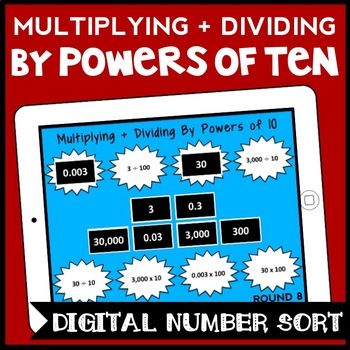 DIGITAL Multiplying + Dividing by Powers of 10, 5th Grade Game for Google Drive