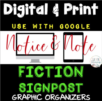 DIGITAL & PRINT Notice & Note Fiction Signposts -  Google - Close Reading