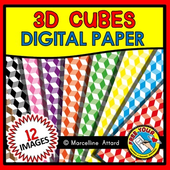 DIGITAL PAPER: 3D CUBES DIGITAL PAPER CLIPART PACK: BACKGROUNDS CLIPART