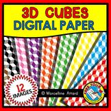 3D CUBES DIGITAL PAPER BACKGROUNDS CLIPART