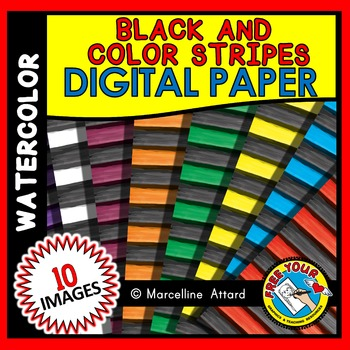 DIGITAL PAPERS: COLOR AND BLACK STRIPES (WATERCOLOR) DIGIT