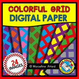 COLORFUL GRID DIGITAL PAPER BACKGROUNDS RAINBOW CLIPART