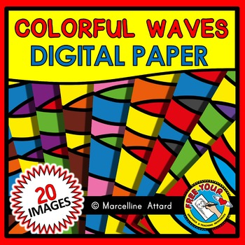 COLORFUL WAVES DIGITAL PAPER RAINBOW CLIPART BACKGROUNDS