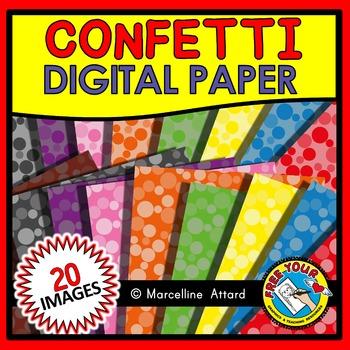CONFETTI CLIPART: CONFETTI DIGITAL PAPER CLIPART PACK: BACKGROUNDS CLIPART