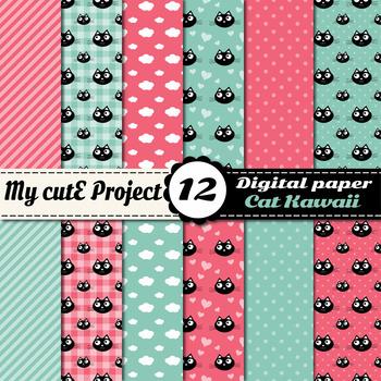 DIGITAL PAPER Cat Kawaii - Scrapbooking graphics - cat, heart, cloud, stripes
