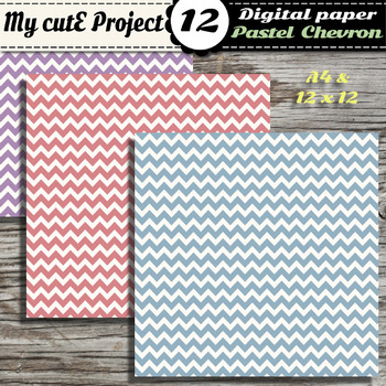 DIGITAL PAPER Chevron Pastel - Scrapbooking & graphics - 12 pastel colors