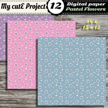 DIGITAL PAPER Flower and butterfly Pastel - Scrapbooking & graphics -