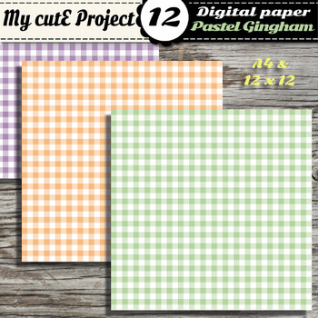 DIGITAL PAPER Gingham Pastel - Scrapbooking & graphics 12 pastel color - pic nic