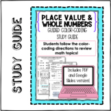 DIGITAL & PAPER: Color-Coding Study Guide: Place Value & W
